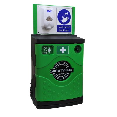 SafetyHub Site Sanitiser Station with storage cabinet