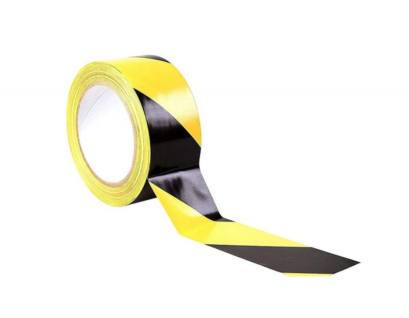 Black and Yellow Hazard Floor Tape 50mm x 33m