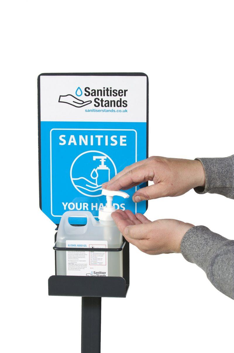 1 Litre Cradle Hand Sanitiser Stand - Action Shot