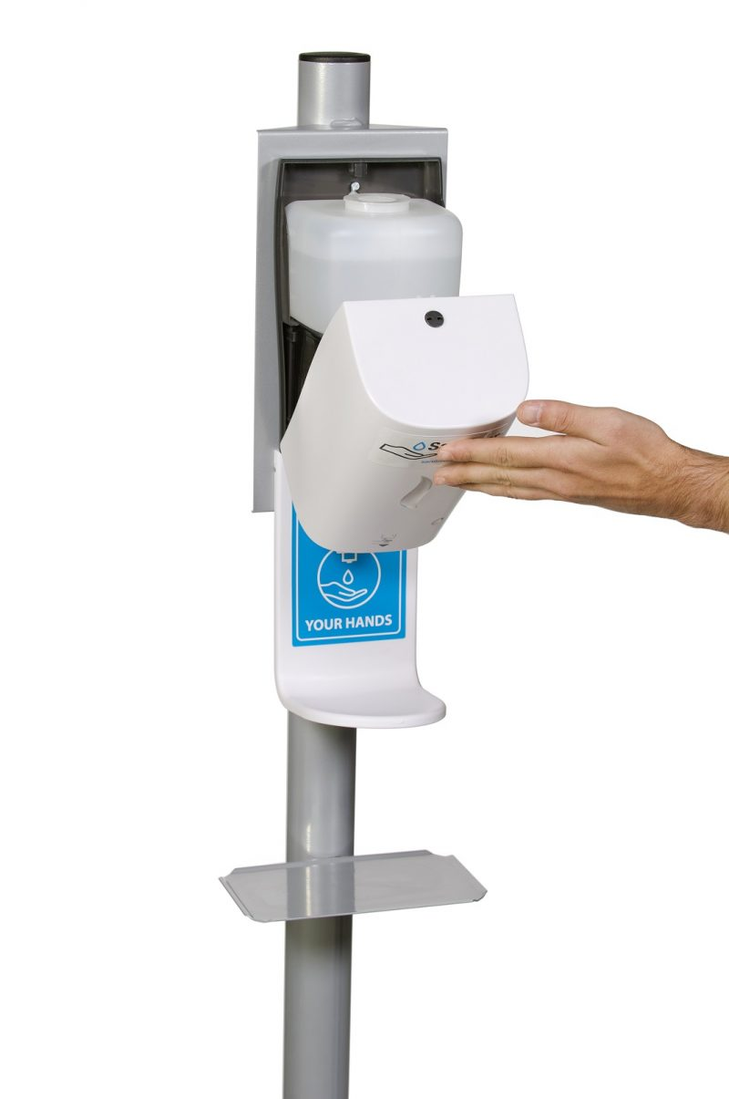 Automatic Hand Sanitiser Stand - Close up - Dispenser Refill 1