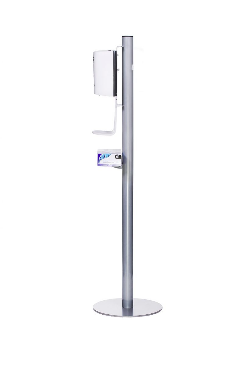 Automatic Hand Sanitiser Stand -Side view with gloves