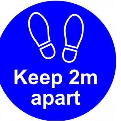 Keep 2m apart Vinyl sticker - blue