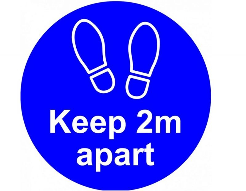 Keep 2m apart Vinyl sticker - blue