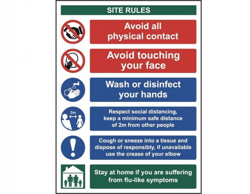 Social Distancing & Hygiene Safety Sign