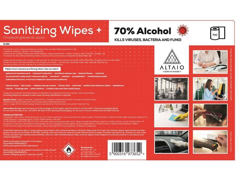 Sanitizing Wipes + (70% Alcohol) label