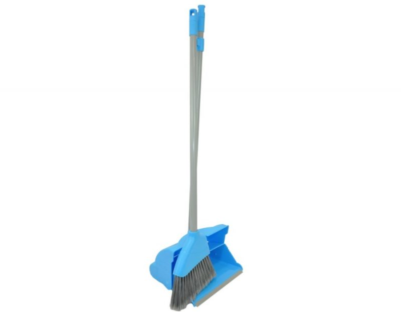 Angle Lobby Broom with Lightweight Lobby Dustpan - Blue