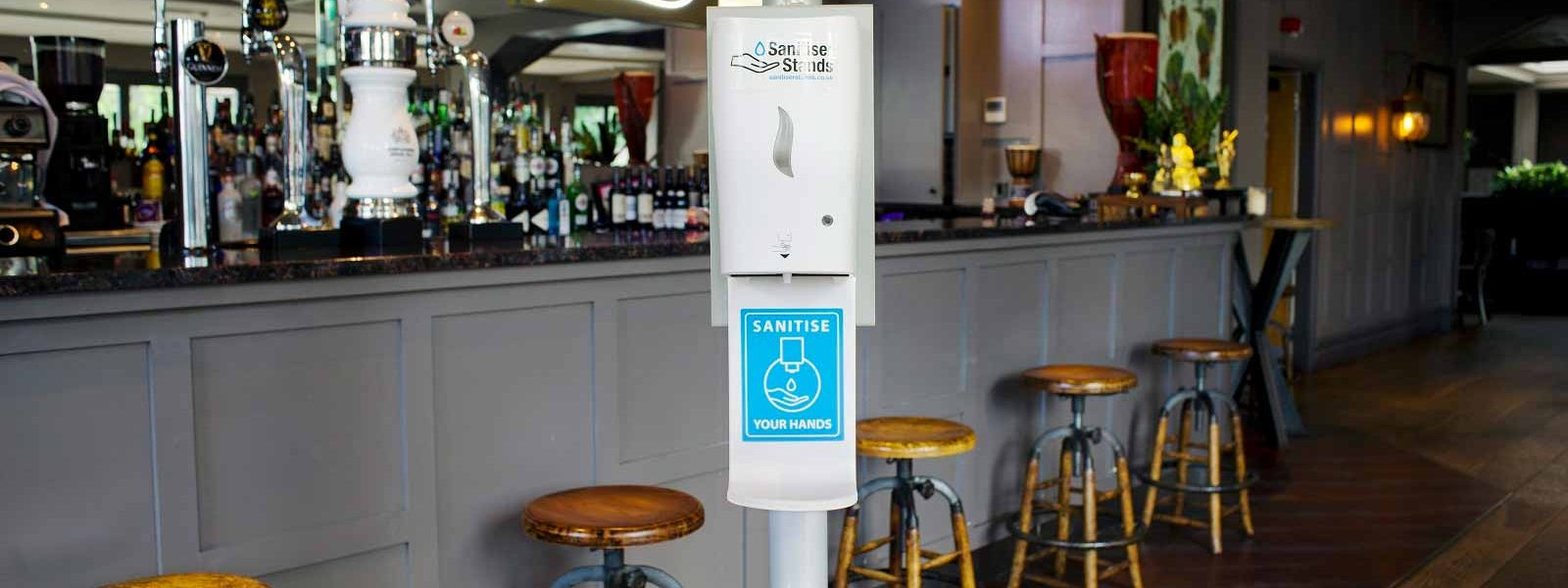 Automatic Hand Sanitiser Stand - Bar Location Shot